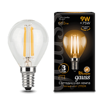 105801109 Лампа Gauss LED Filament Globe E14 9W 2700-3000K