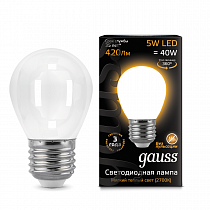 105202105 Лампа Gauss LED Filament Globe OPAL E27 5W 2700K