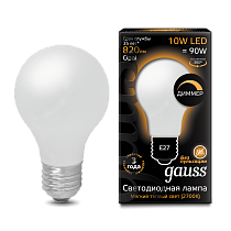 102202110-D Лампа Gauss LED Filament A60 OPAL dimmable E27 10W 2700-3000K