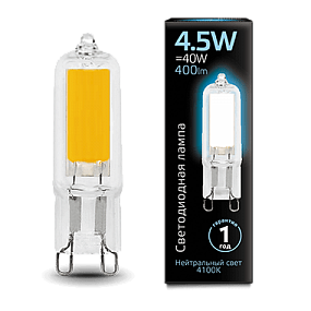 107809204 Лампа Gauss LED G9 AC220-240V 4.5W 4100K Glass