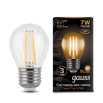105802107 Лампа Gauss LED Filament Globe E27 7W 2700-3000K