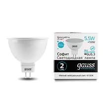 Лампа Gauss Elementary MR16 5.5W 450lm 4100К GU5.3 LED 1/10/100