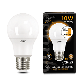 102502110-S Лампа Gauss LED A60 10W E27 2700K / 3000K step dimmable