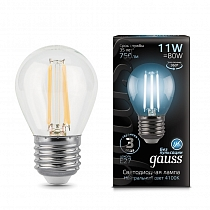 105802211 Лампа Gauss LED Filament Шар E27 11W 750lm 4100K
