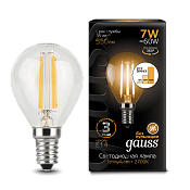 105801107-S Лампа Gauss LED Filament Globe E14 7W 2700K step dimmable