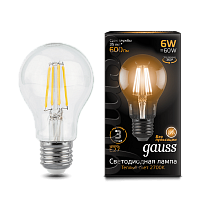 102802106 Лампа Gauss LED Filament A60 E27 6W 2700-3000K