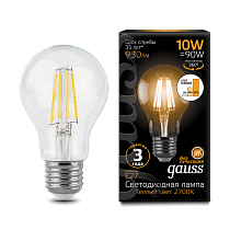 102802110-S Лампа Gauss LED Filament A60 E27 10W 2700-3000K step dimmable