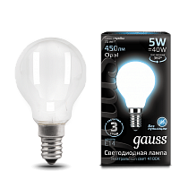 105201205 Лампа Gauss LED Filament Globe OPAL E14 5W 4100K