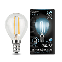 105801205 Лампа Gauss LED Filament Globe E14 5W 4100K