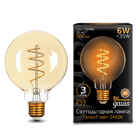 105802007 Лампа Gauss LED Filament G95 Flexible E27 6W Golden 2400К