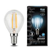 105801209 Лампа Gauss LED Filament Globe E14 9W 4100K