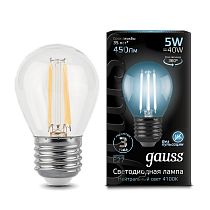 105802205 Лампа Gauss LED Filament Globe E27 5W 4100K