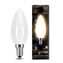 103201105 Лампа Gauss LED Filament Candle OPAL E14 5W 2700-3000K