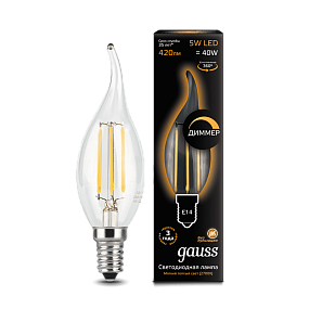 104801105-D Лампа Gauss LED Filament Candle tailed dimmable E14 5W 2700K