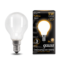 105201105 Лампа Gauss LED Filament Globe OPAL E14 5W 2700K