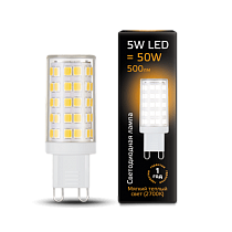 Лампа Gauss LED G9 AC185-265V 5W 2700K керамика