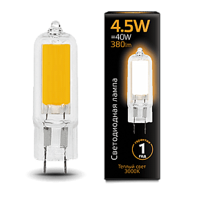 107807104 Лампа Gauss LED G4 AC220-240V 4.5W 3000K Glass