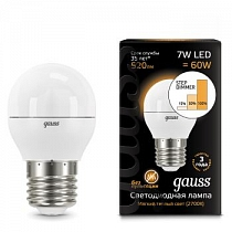 105102107-S Лампа Gauss LED Globe E27 7W 2700-3000K step dimmable