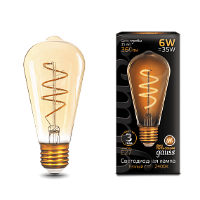 157802006 Лампа Gauss LED Filament ST64 Flexible E27 6W Golden 2400К
