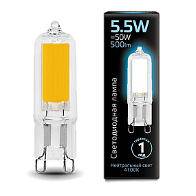 107809205 Лампа Gauss LED G9 AC220-240V 5.5W 4100K Glass