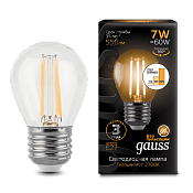 105802107-S Лампа Gauss LED Filament Globe E27 7W 2700-3000K step dimmable
