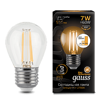 Лампа Gauss LED Filament Globe E27 7W 2700K step dimmable