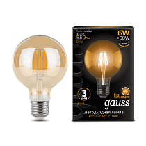 105802006 Лампа Gauss LED Filament G95 E27 6W Golden 2400K