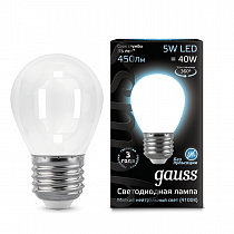 105202205 Лампа Gauss LED Filament Globe OPAL E27 5W 4100K