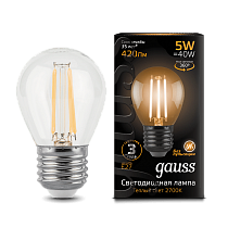 105802105 Лампа Gauss LED Filament Globe E27 5W 2700-3000K