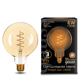 158802008 Лампа Gauss LED Filament G120 Flexible E27 6W Golden 2400К
