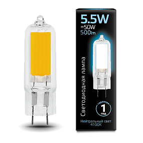 107807205 Лампа Gauss LED G4 AC220-240V 5.5W 4100K Glass