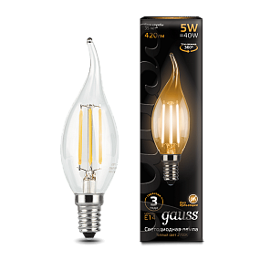 104801105 Лампа Gauss LED Filament Candle tailed E14 5W 2700-3000K