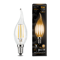 104801109 Лампа Gauss LED Filament Candle tailed E14 9W 2700-3000K