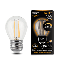 105802105-D Лампа Gauss LED Filament Globe dimmable E27 5W 2700-3000K
