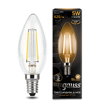 103801105 Лампа Gauss LED Filament Candle E14 5W 2700-3000K