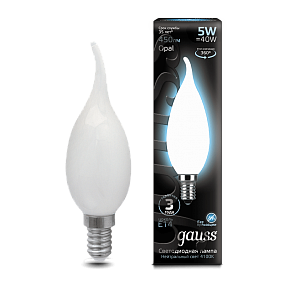 104201205 Лампа Gauss LED Filament Candle Tailed OPAL E14 5W 4100К