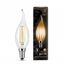 104801111 Лампа Gauss LED Filament Свеча на ветру E14 11W 720lm 2700-3000K