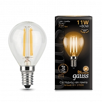 105801111 Лампа Gauss LED Filament Шар E14 11W 720lm 2700-3000K