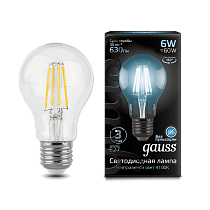 102802206 Лампа Gauss LED Filament A60 E27 6W 4100К