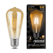 102802006 Лампа Gauss LED Filament ST64 E27 6W Golden 2400К