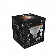 Лампа Gauss MR16 6W GU5.3 RGBW+димирование LED 1/10/100