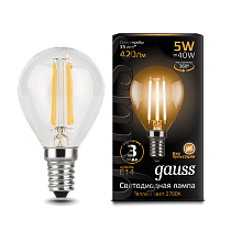 105801105 Лампа Gauss LED Filament Globe E14 5W 2700-3000K
