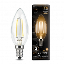 103801111 Лампа Gauss LED Filament Свеча E14 11W 720lm 2700-3000K