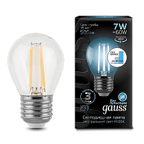 105802207-S Лампа Gauss LED Filament Globe E27 7W 4100K step dimmable