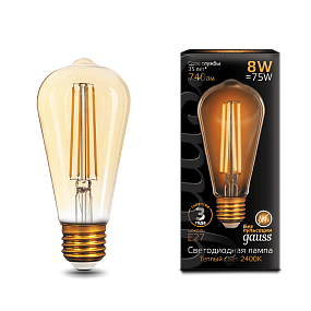 157802008 Лампа Gauss LED Filament ST64 E27 8W Golden 2400К