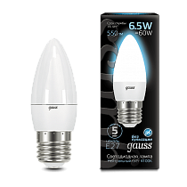 103102207 Лампа Gauss LED Candle E27 6.5W 4100К