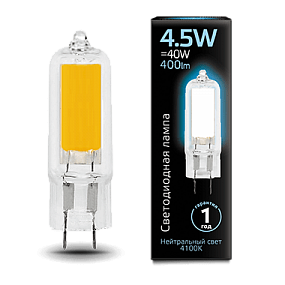 107807204 Лампа Gauss LED G4 AC220-240V 4.5W 4100K Glass