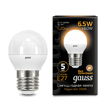 Лампа Gauss LED Globe E27 6.5W 3000K