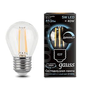 105802205-D Лампа Gauss LED Filament Globe dimmable E27 5W 4100K