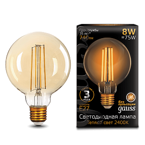 105802008 Лампа Gauss LED Filament G95 E27 8W Golden 2400К